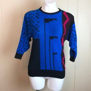 Vintage 80s/90s Abstract Color Block Sweater
